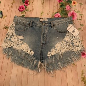 Free People Lace Hem High Waist Denim Shorts